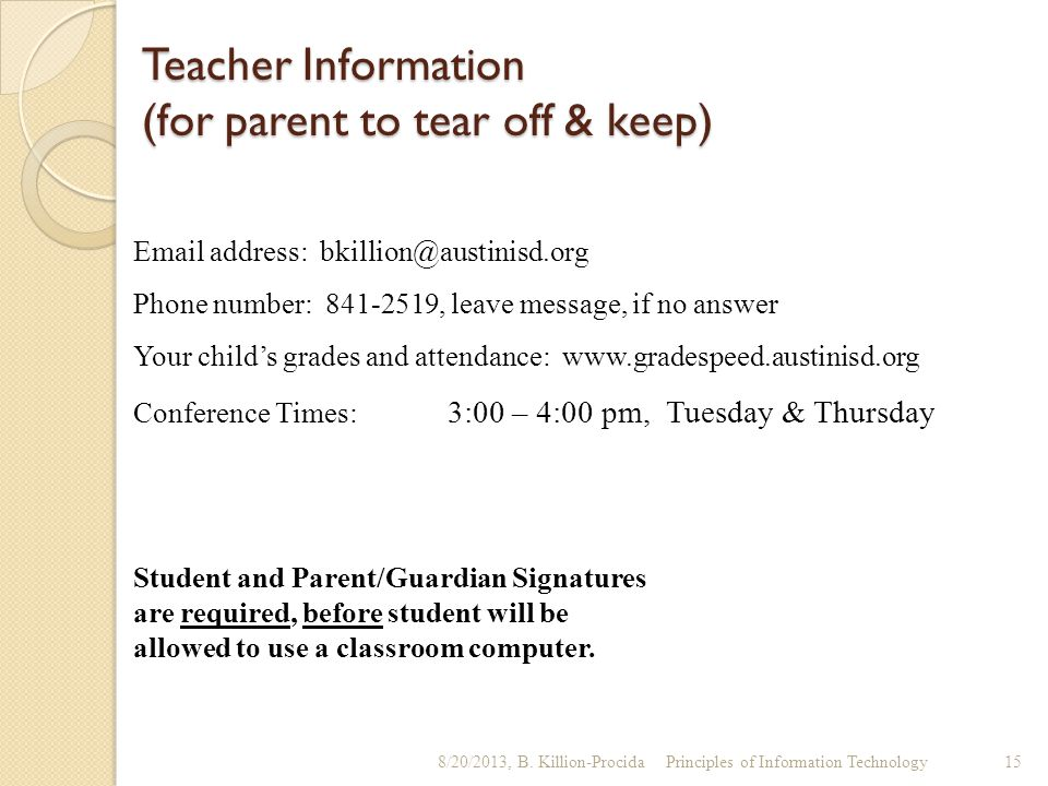 Teacher Information (for parent to tear off & keep)