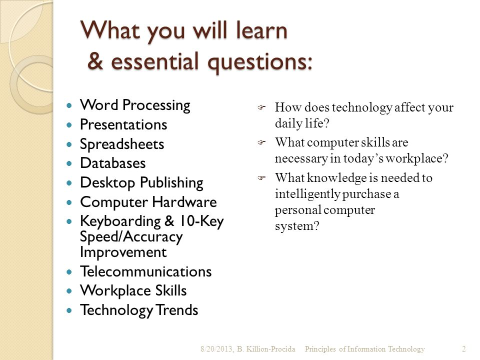 What you will learn & essential questions:
