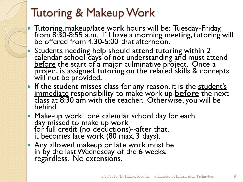 Tutoring & Makeup Work