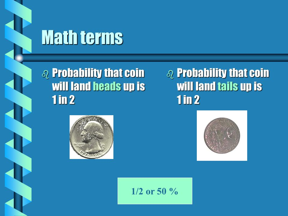 Math terms Probability that coin will land heads up is 1 in 2