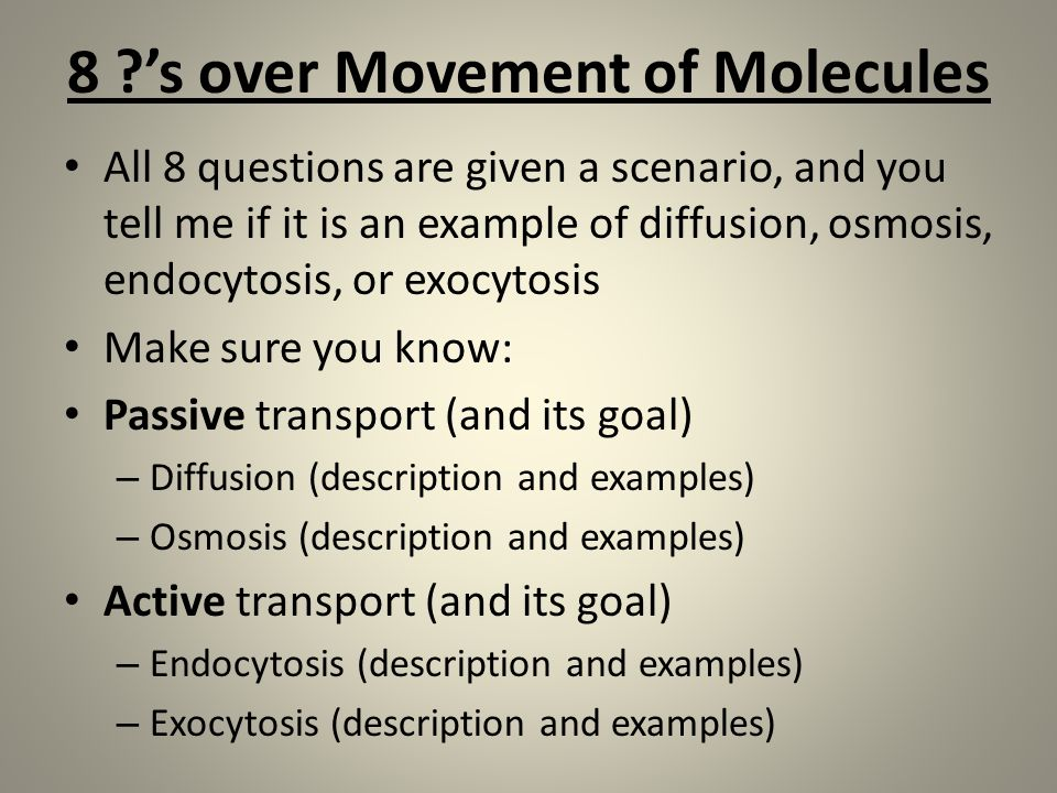8 's over Movement of Molecules