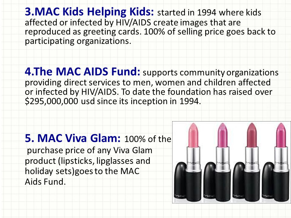 3.MAC Kids Helping Kids: started in 1994 where kids affected or infected by HIV/AIDS create images that are reproduced as greeting cards. 100% of selling price goes back to participating organizations.