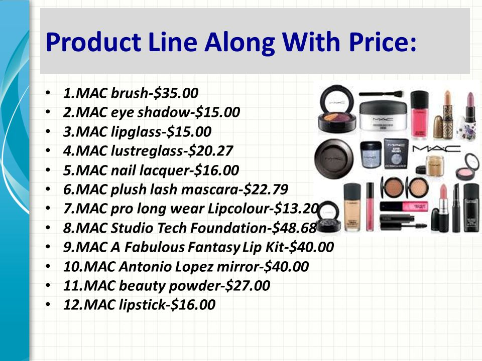 Product Line Along With Price:
