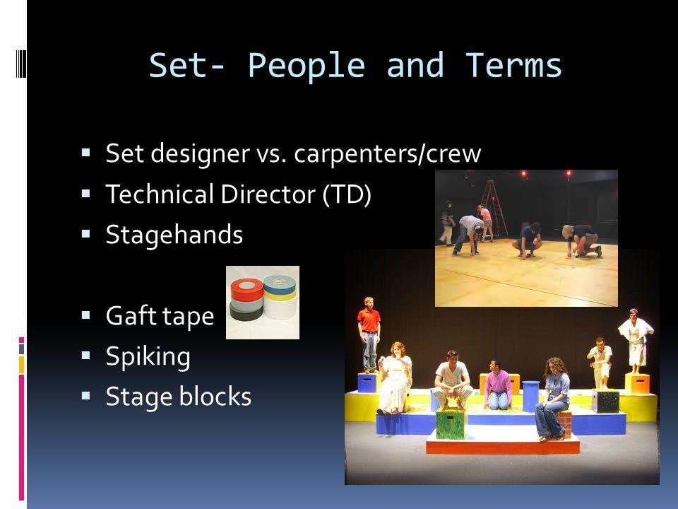 Set- People and Terms Set designer vs. carpenters/crew