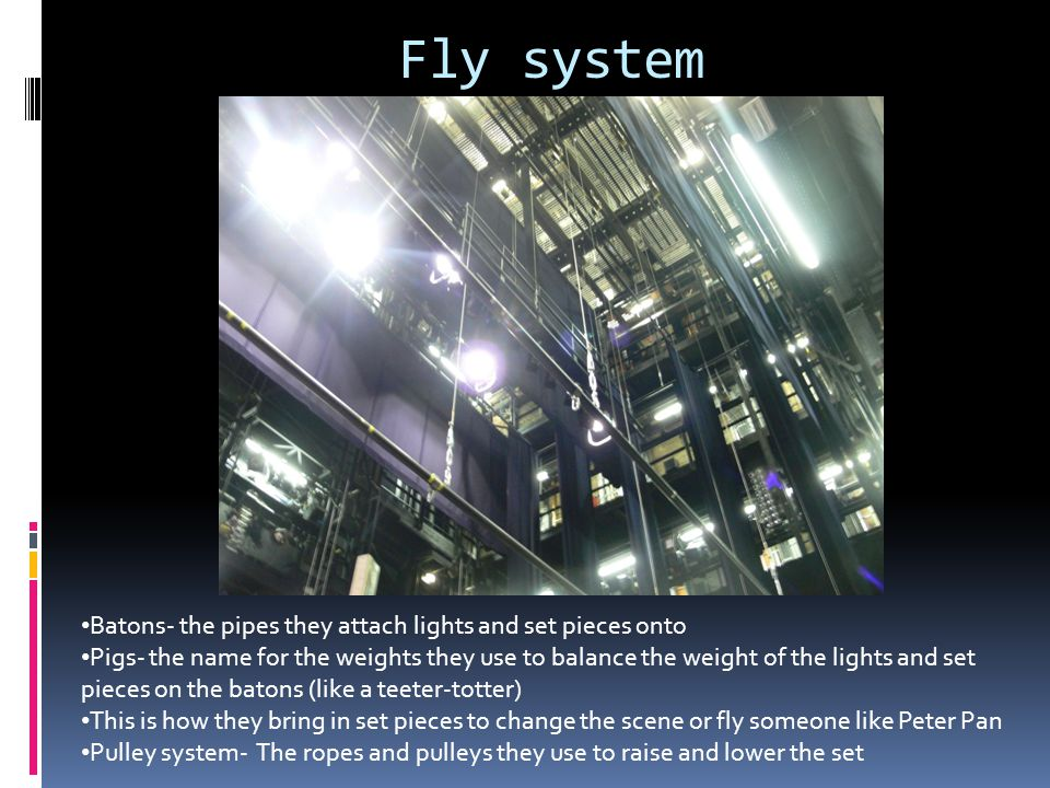 Fly system Batons- the pipes they attach lights and set pieces onto
