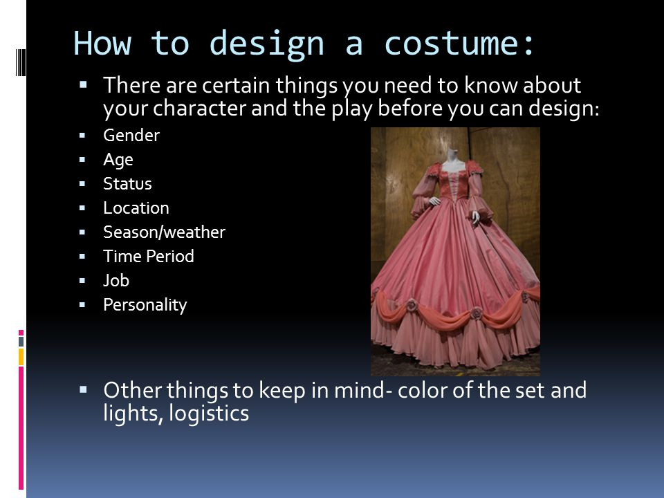 How to design a costume: