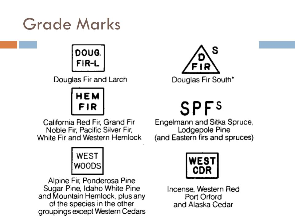 Grade Marks A number of western lumber species have similar performance properties and are marketed with a common species designation.