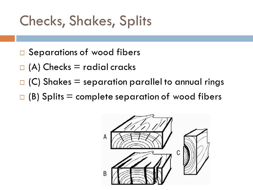 Checks, Shakes, Splits Separations of wood fibers