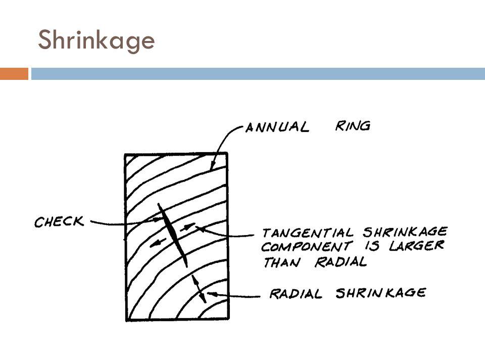 Shrinkage Tangential shrinkage greater than radial