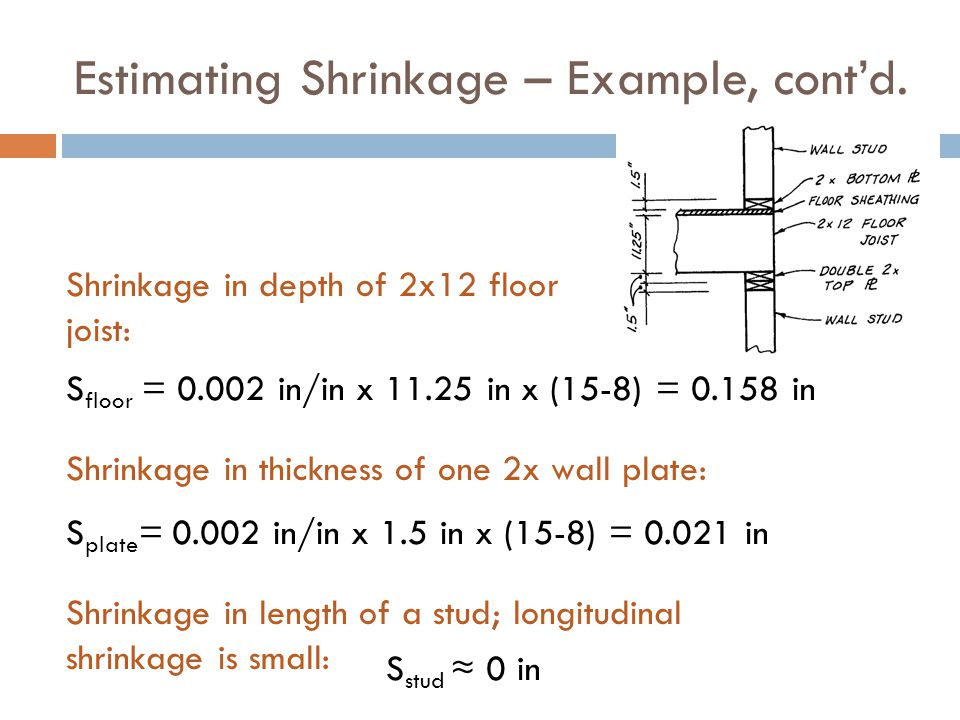 Estimating Shrinkage – Example, cont'd.