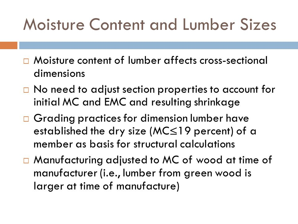 Moisture Content and Lumber Sizes