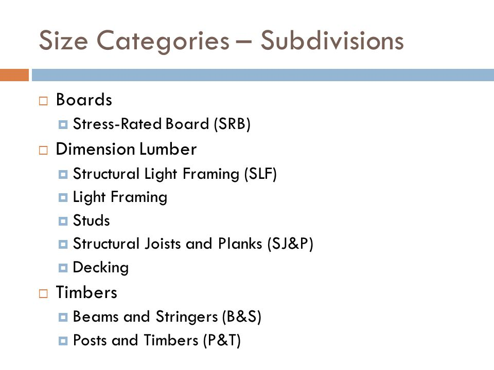 Size Categories – Subdivisions