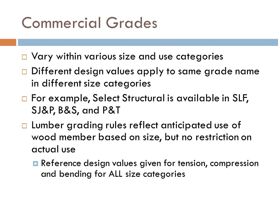 Commercial Grades Vary within various size and use categories