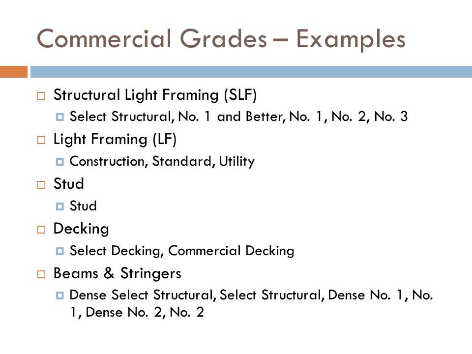 Commercial Grades – Examples