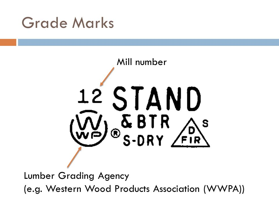 Grade Marks Mill number Lumber Grading Agency