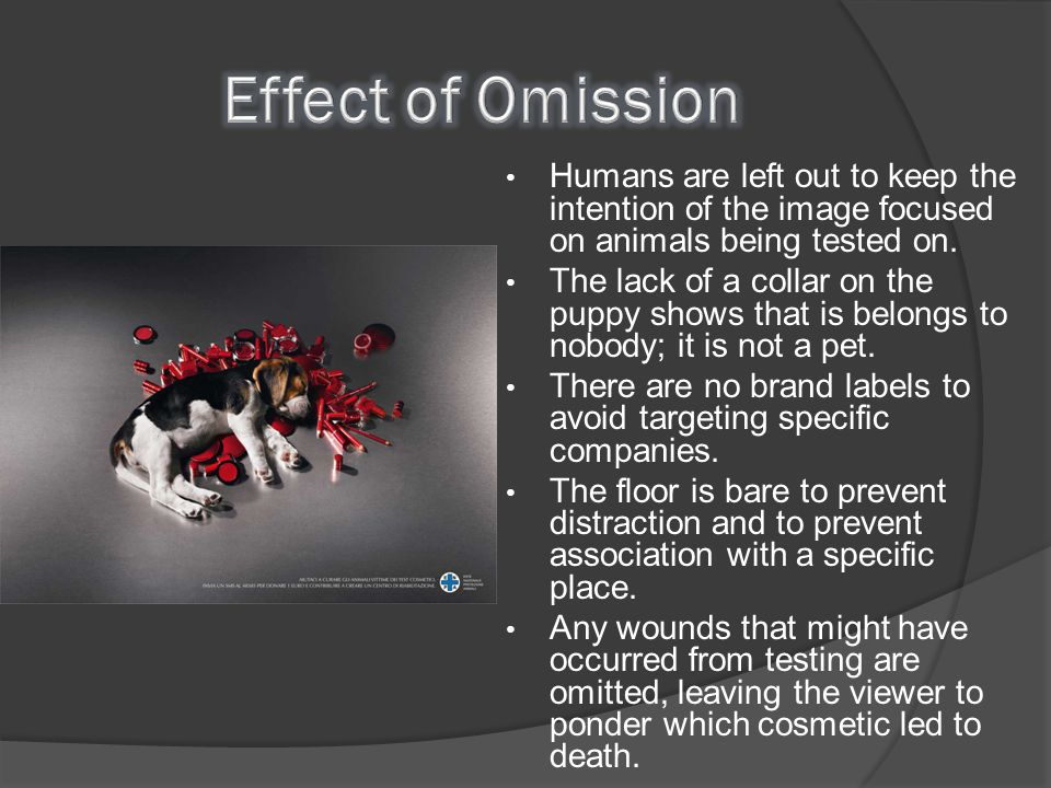 Effect of Omission Humans are left out to keep the intention of the image focused on animals being tested on.