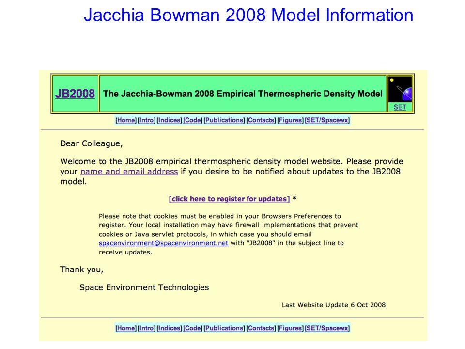 Jacchia Bowman 2008 Model Information