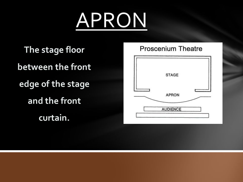 APRON The stage floor between the front edge of the stage and the front curtain.