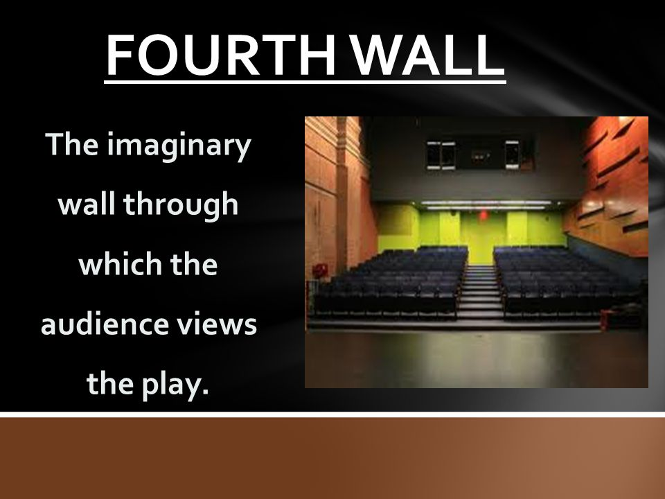 The imaginary wall through which the audience views the play.