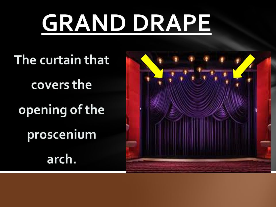 The curtain that covers the opening of the proscenium arch.