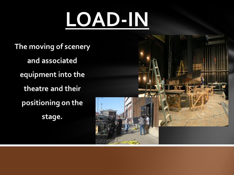 LOAD-IN The moving of scenery and associated equipment into the theatre and their positioning on the stage.