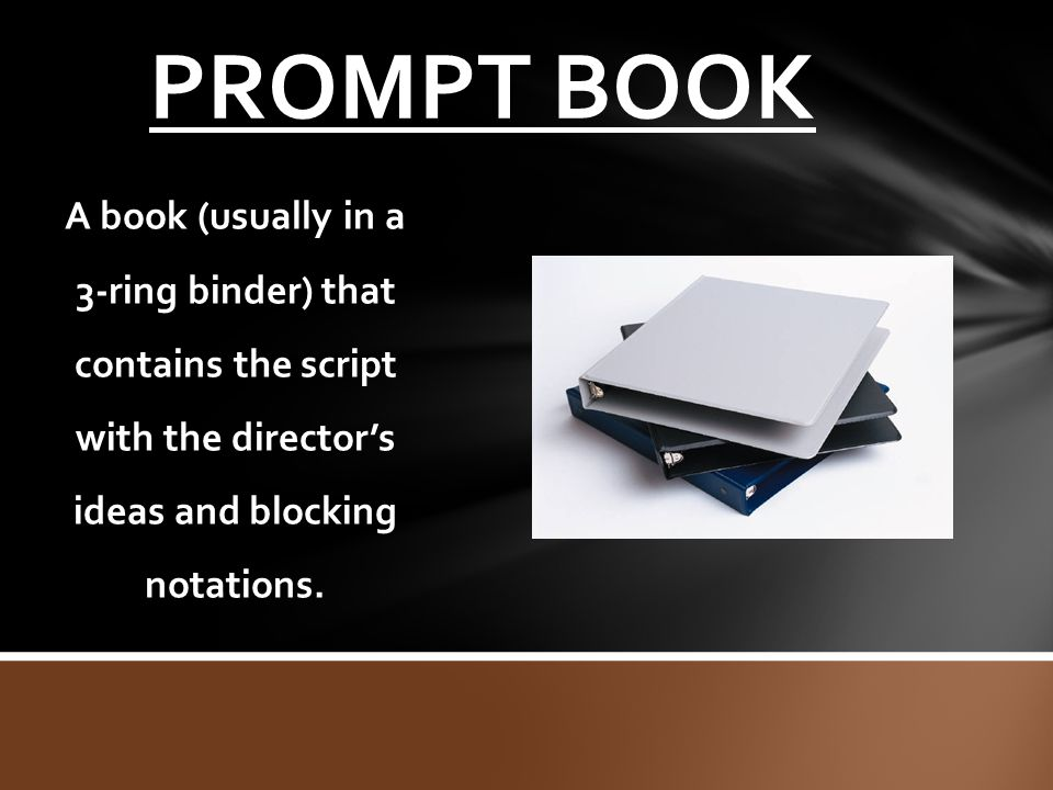 PROMPT BOOK A book (usually in a 3-ring binder) that contains the script with the director's ideas and blocking notations.