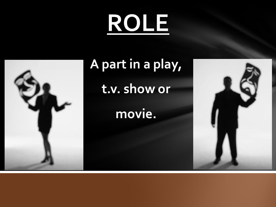 A part in a play, t.v. show or movie.