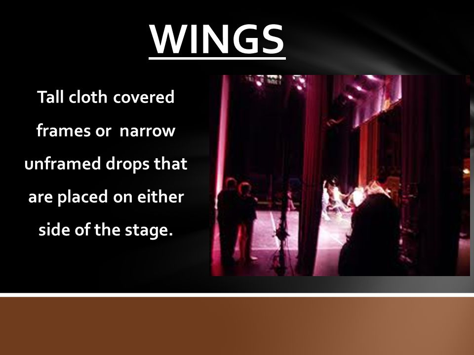 WINGS Tall cloth covered frames or narrow unframed drops that are placed on either side of the stage.