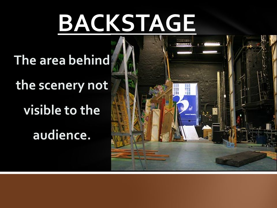 The area behind the scenery not visible to the audience.