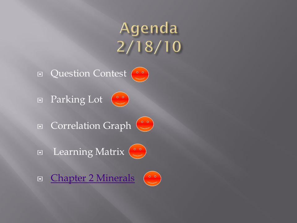 Agenda 2/18/10 Question Contest Parking Lot Correlation Graph
