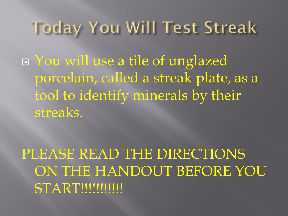 Today You Will Test Streak