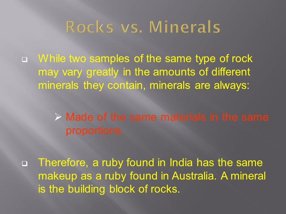 Rocks vs. Minerals