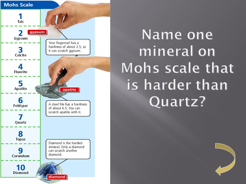 Name one mineral on Mohs scale that is harder than Quartz