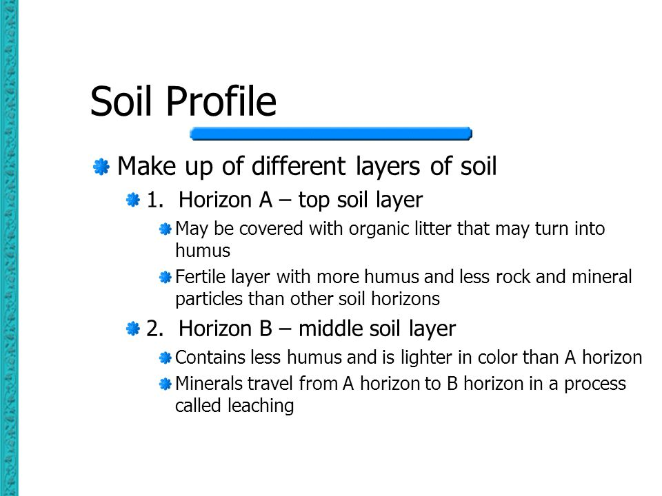 Soil Profile Make up of different layers of soil