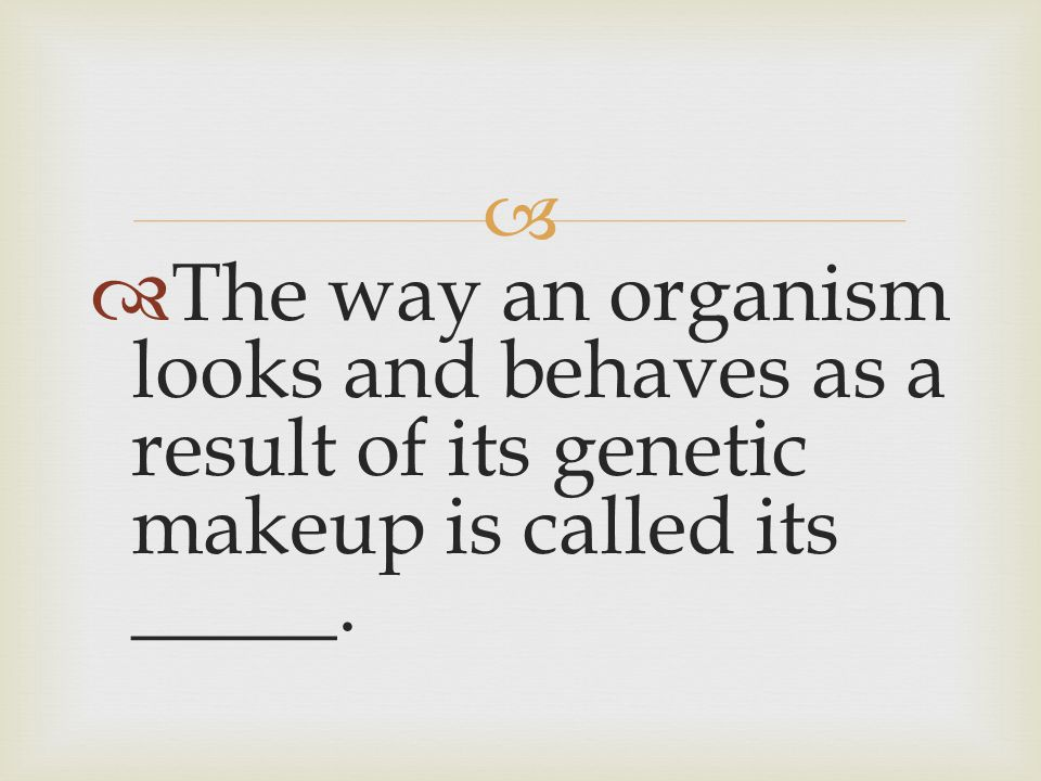 The way an organism looks and behaves as a result of its genetic makeup is called its _____.