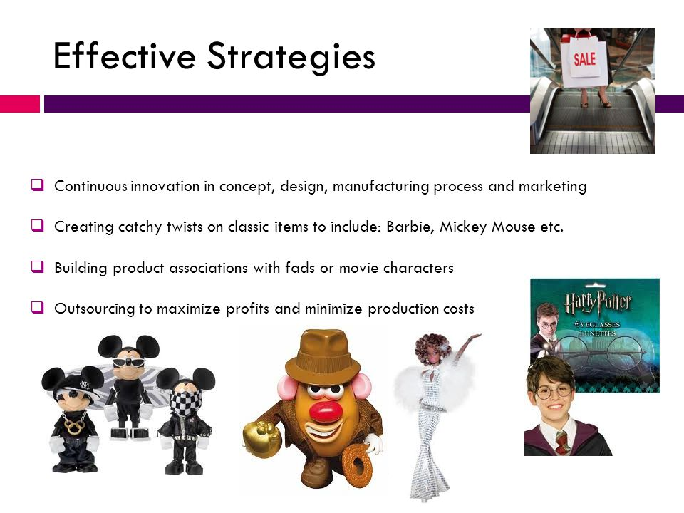 Effective Strategies Continuous innovation in concept, design, manufacturing process and marketing.