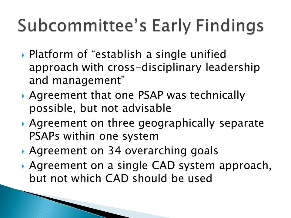 Subcommittee's Early Findings