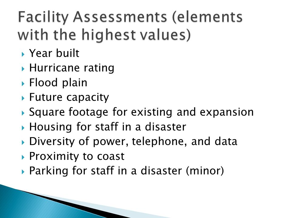 Facility Assessments (elements with the highest values)