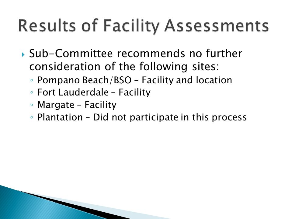 Results of Facility Assessments