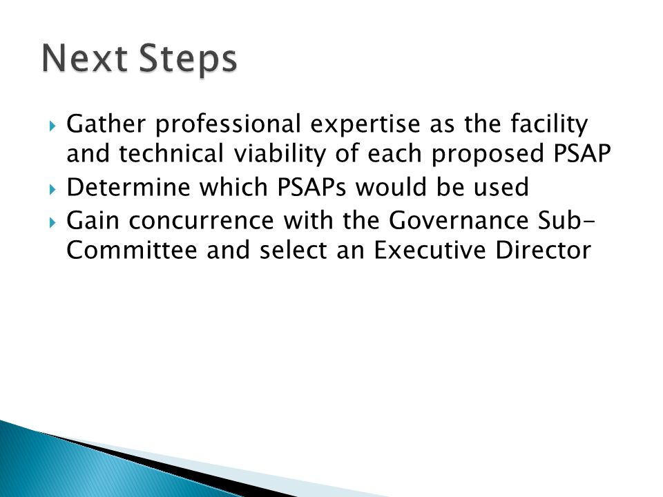 Next Steps Gather professional expertise as the facility and technical viability of each proposed PSAP.