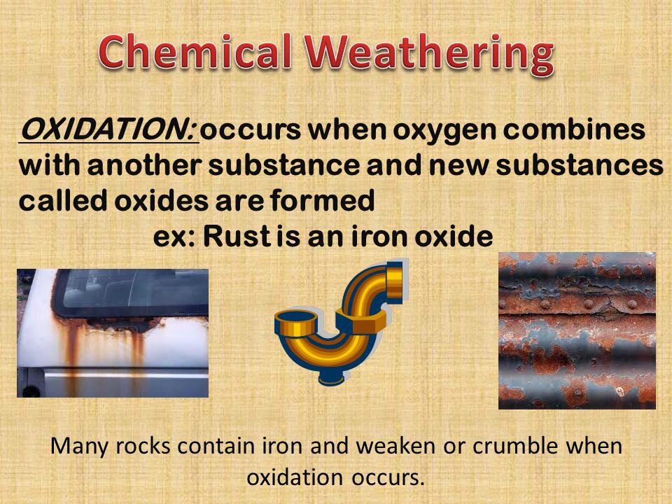 Many rocks contain iron and weaken or crumble when oxidation occurs.