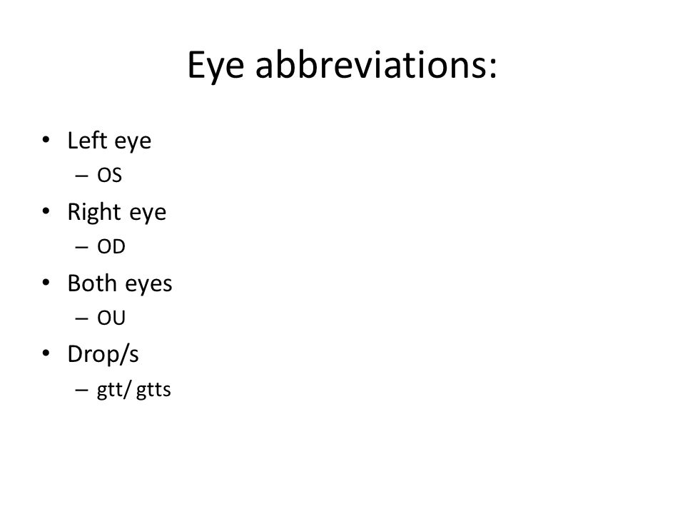 Eye abbreviations: Left eye Right eye Both eyes Drop/s OS OD OU