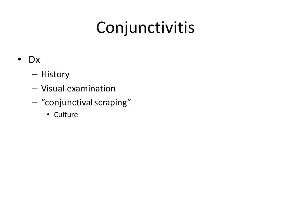 Conjunctivitis Dx History Visual examination conjunctival scraping