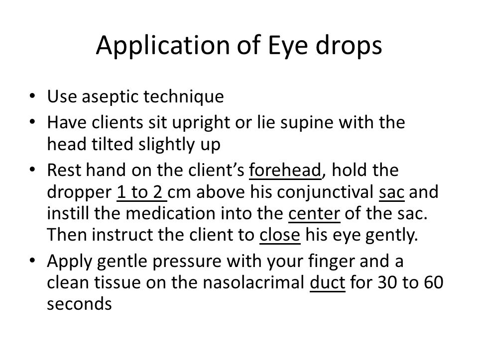 Application of Eye drops