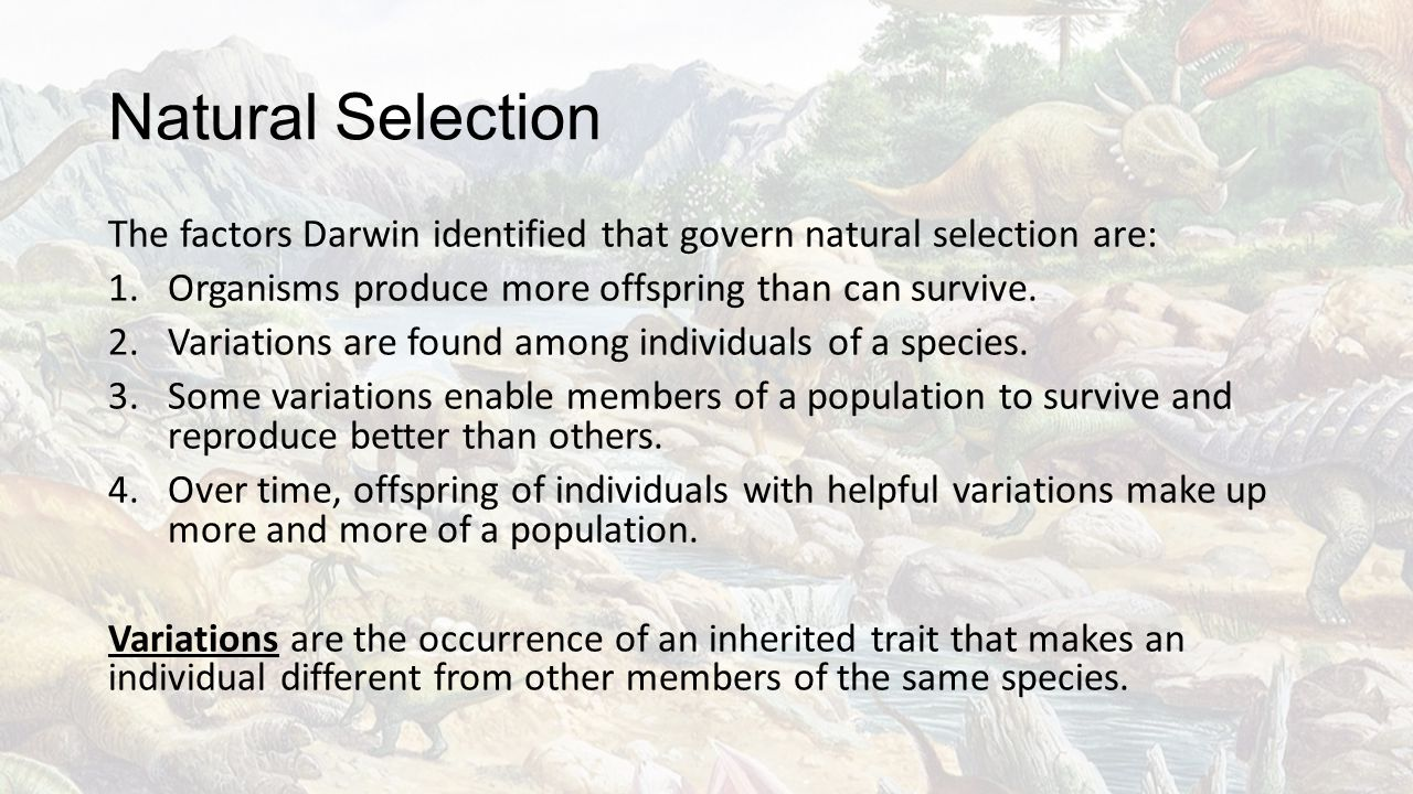 Natural Selection The factors Darwin identified that govern natural selection are: Organisms produce more offspring than can survive.