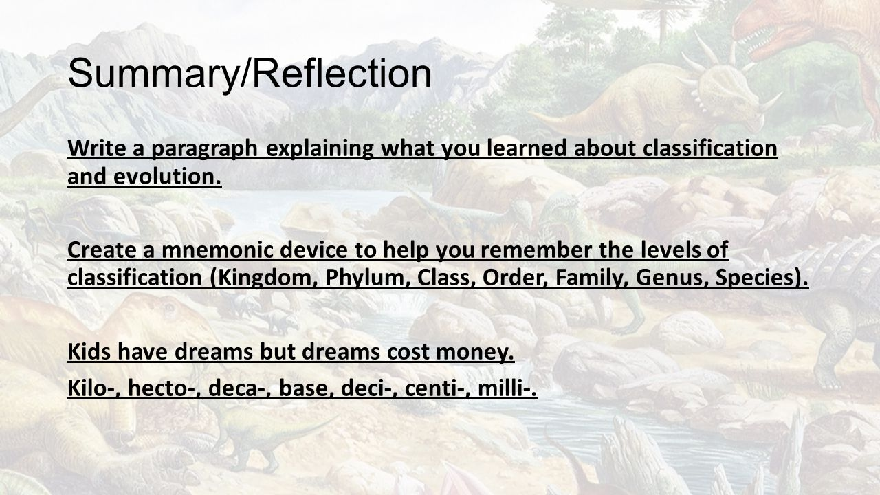 Summary/Reflection Write a paragraph explaining what you learned about classification and evolution.