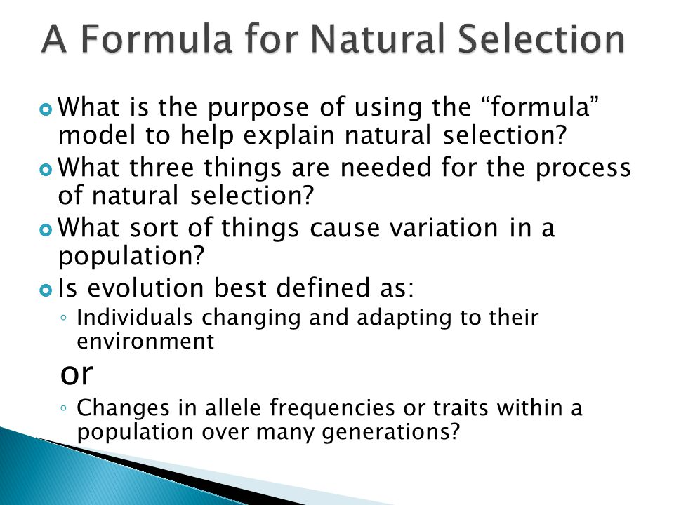 A Formula for Natural Selection