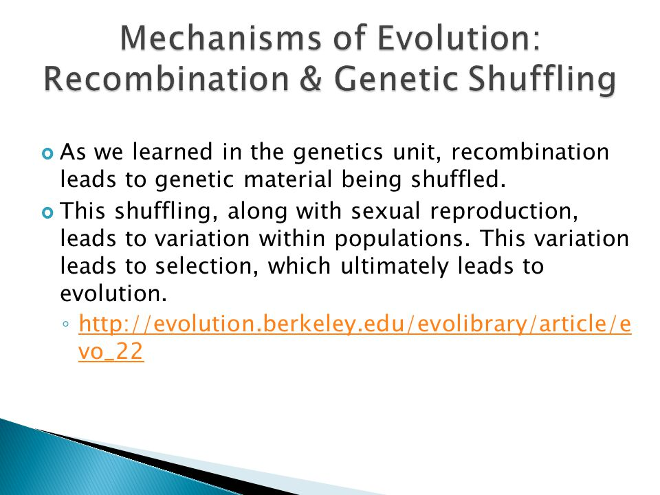 Mechanisms of Evolution: Recombination & Genetic Shuffling