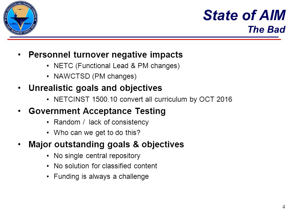 State of AIM The Bad Personnel turnover negative impacts