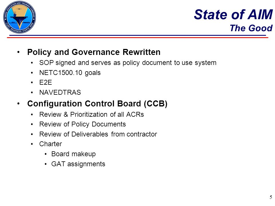 State of AIM The Good Policy and Governance Rewritten